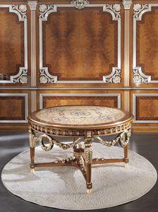 ART. 3098, Tavolo tondo di lusso, con intarsi in oro
