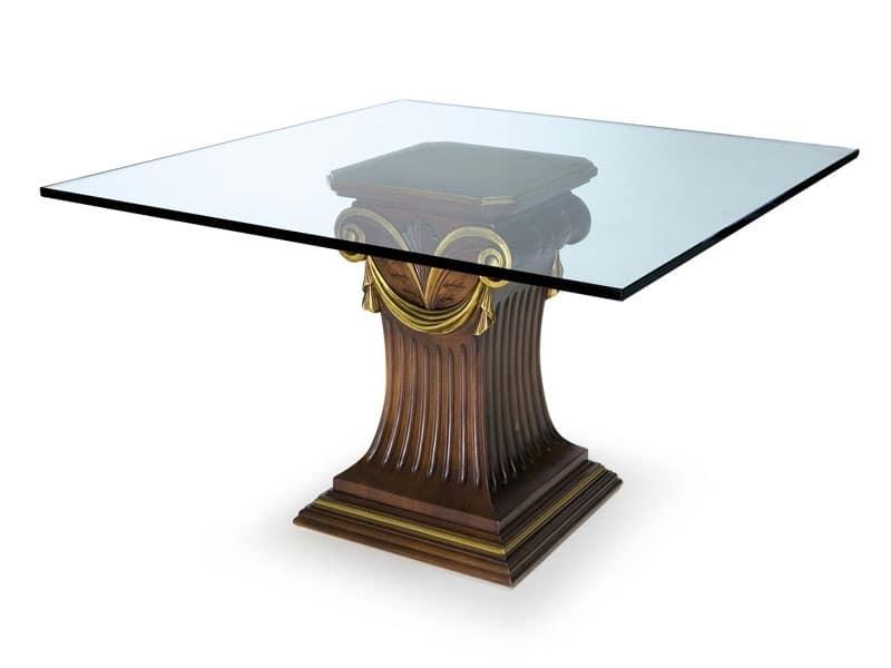 Art.528 tavolo, Tavolo con piano in vetro e base in faggio, stile classico