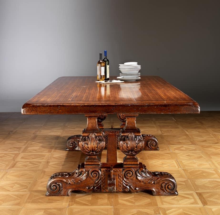 Tavolo da pranzo con base intagliata a mano   IDFdesign