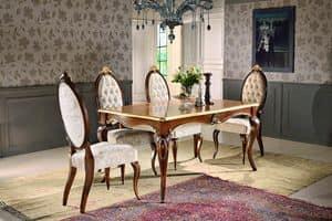 Art. 903, Tavolo rettangolare, con fregi floreali, per sala da pranzo