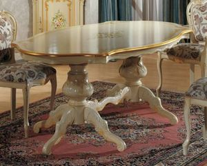 Brianza tavolo sagomato, Tavolo classico, con dipinto decorativo