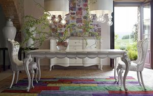 Carpi tavolo, Tavolo classico, finitura bianco ed argento