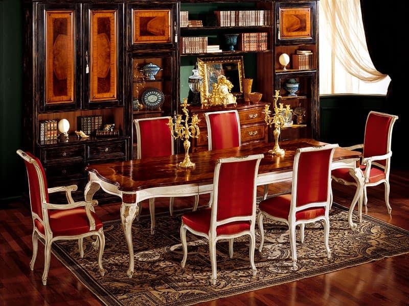 Display tavolo 829, Tavolo da pranzo in legno, classico di lusso