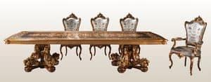 F980/A, Tavolo di lusso intarsiato, per residenze classiche