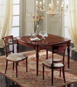 Gardenia tavolo quadrato, Tavolo allungabile quadrato, classico, in noce massello