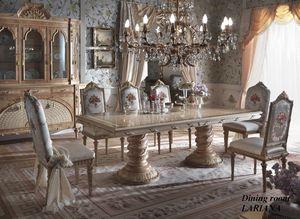 Lariana tavolo rettangolare, Sontuoso tavolo da pranzo con piano intarsiato