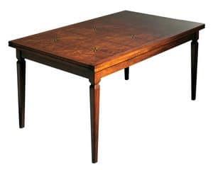 Lauret VS.5514.B, Tavolo  in noce rettangolare allungabile, piano intarsiato, per sale da pranzo in stile classico di lusso