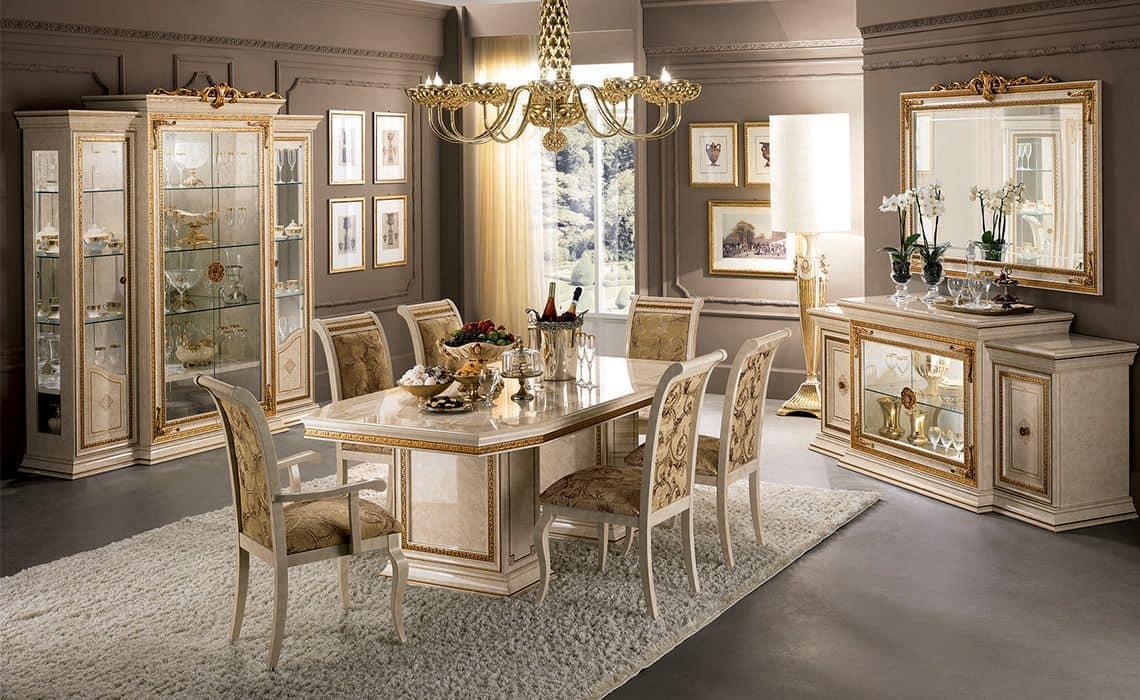 Sala Da Pranzo Classica Di Lusso Con Tavolo Sedie E Vetrina Idfdesign