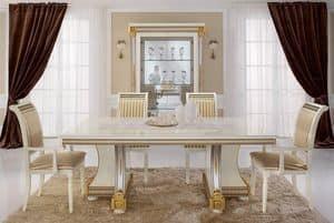 Liberty tavolo, Tavoli da pranzo, prodotti di lusso made in Italy, in legno intagliato a mano