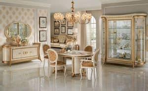 Melodia sala da pranzo, Sala da pranzo in stile, con vetrine, credenza, tavolo e sedie