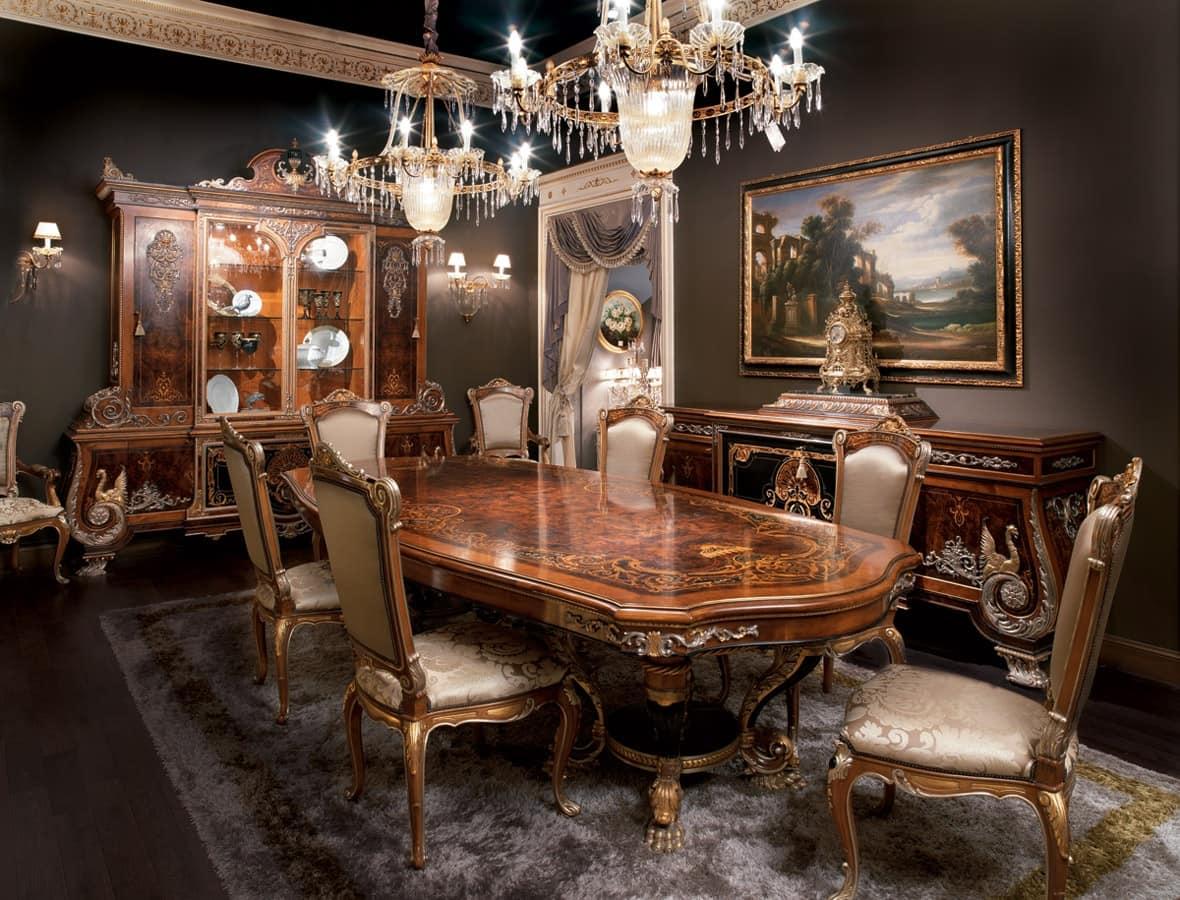 Sala da pranzo intarsiata, tavolo in legno massello in stile impero  IDFdesign