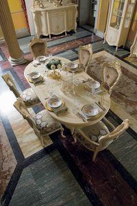 Opera tavolo ovale, Tavolo da pranzo ovale, in stile classico