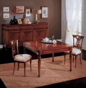 Opera tavolo, Tavolo da pranzo allungabile in legno, in stile classico