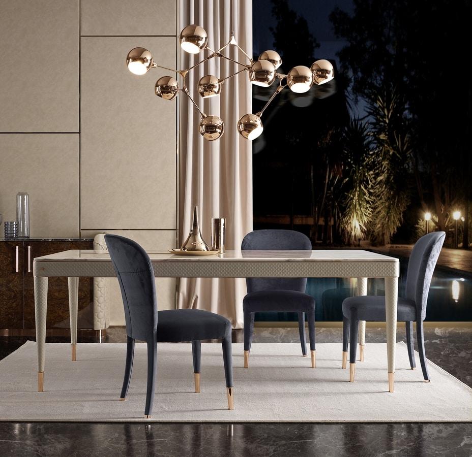 Oscar tavolo, Tavolo rivestito in pelle, con piano in marmo
