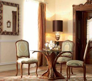 Palazzo Reale Art. TAV07/DIAM.120, Tavolo tondo, con base intagliata e decorata artigianalmente