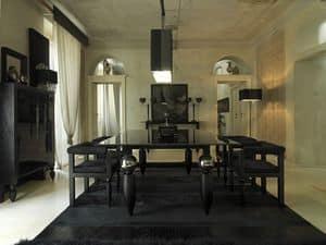Rettangolo, Tavolo classico con piano in vetro e legno, gambe decorate