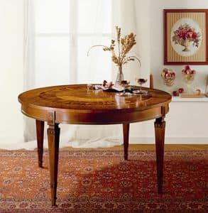 T472 tavolo, Tavolo tondo allungabile, in legno massiccio intarsiato