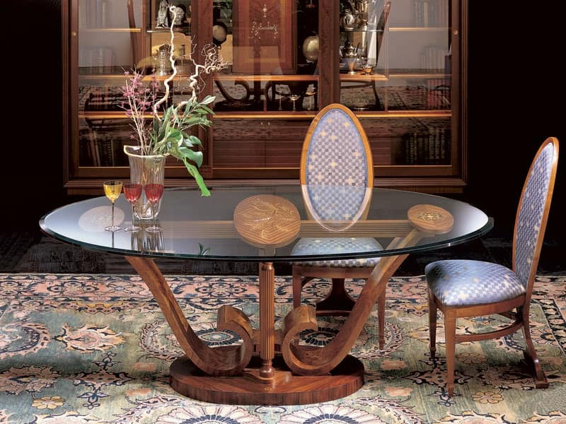 Tavolo Ovale Da Pranzo In Legno Piano In Cristallo Idfdesign