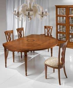 T492 I Capitelli tavolo, Tavolo allungabile in stile classico, in legno massiccio
