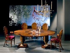 TA32 Quadrifoglio tavolo, Tavolo allungabile in legno, con forma a quadrifoglio