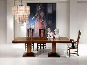 TA46 Luci della ribalta tavolo, Tavolo allungabile, in legno, per arredo classico