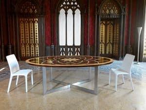Tavolo Michelangelo, Tavolo ovale classico, piano in legno, base in metallo