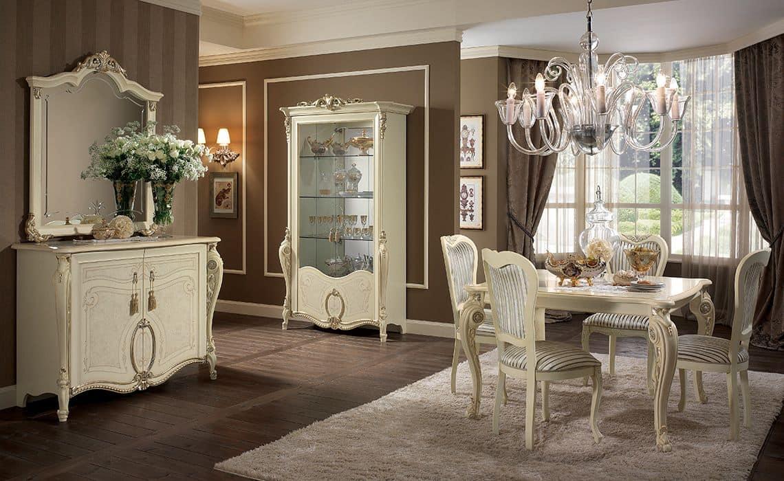 Tavoli Eleganti Sala Da Pranzo tavolo rettangolare, gambe finemente lavorate, color avorio