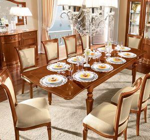 Torriani tavolo rettangolare, Tavolo da pranzo rettangolare in legno