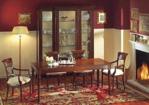 Voltaire tavolo rettangolare, Tavolo rettangolare in noce, lucidato con cera