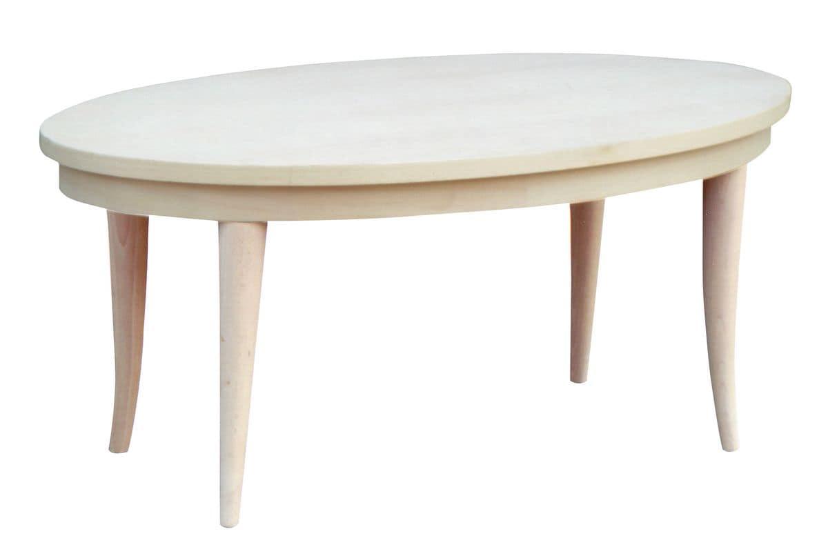 TA19, Tavolo classico ovale in faggio, piano impiallacciato