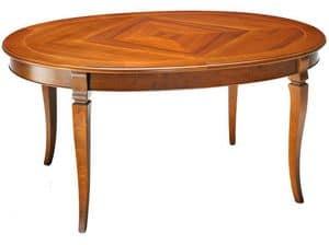 TA25, Tavolo ovale allungabile, in legno di faggio e laminato