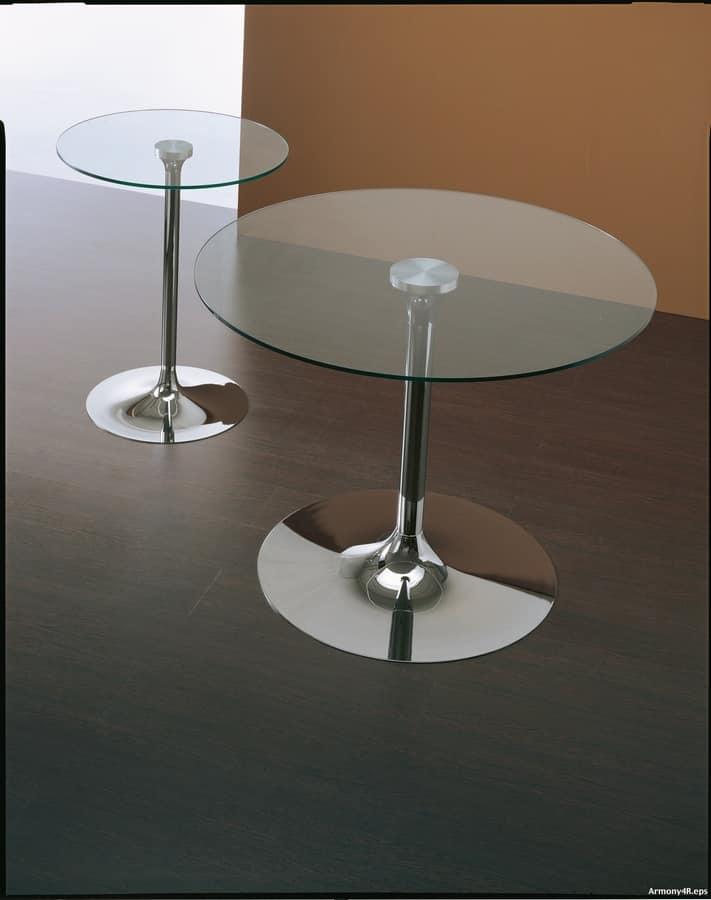 Art. 641/2 Armony, Tavolo rotondo con piano trasparente e base rotonda