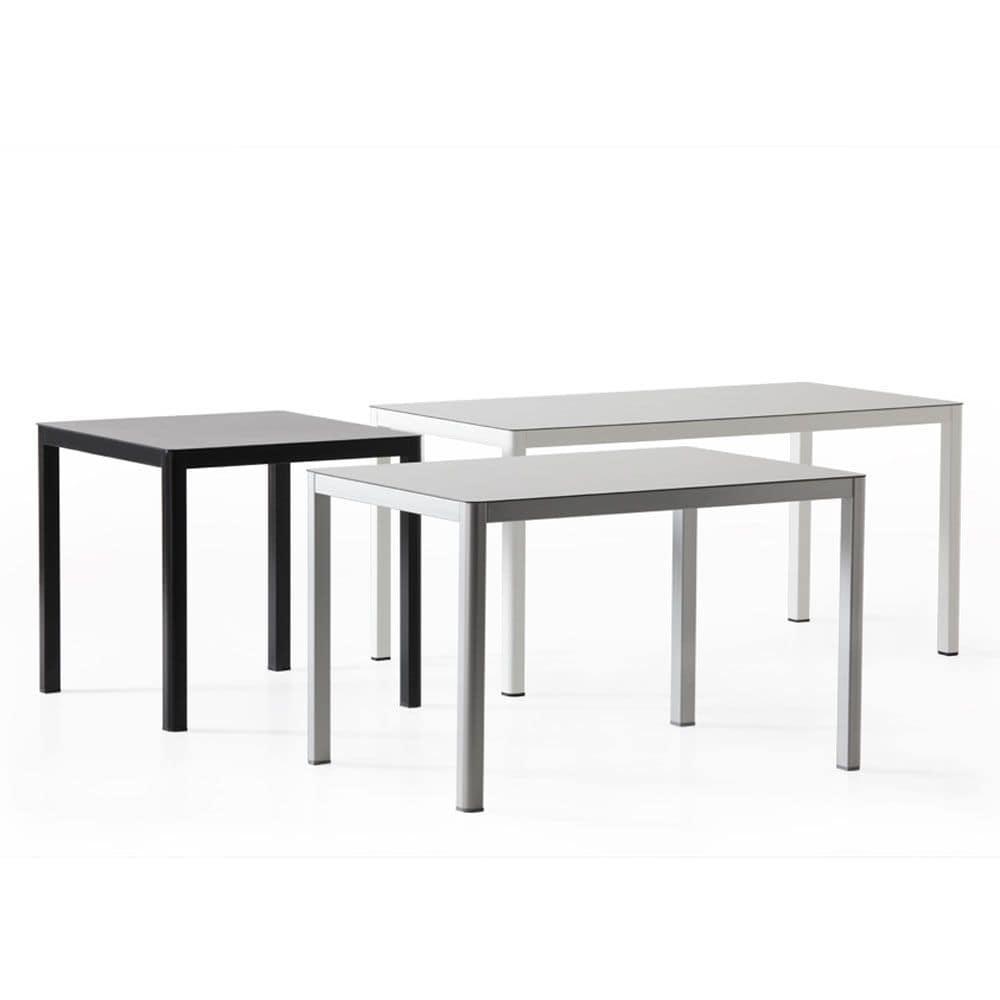La h75, Tavolo in metallo ed hpl, linea contemporanea
