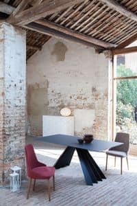 VENTAGLIO, Tavolo allungabile o fisso, con top in vetro, legno o ceramica