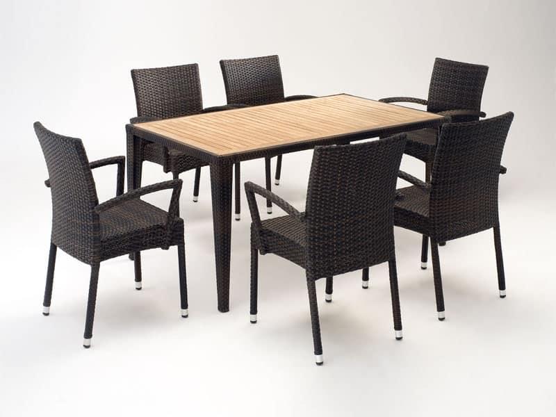 FT 2025.160 - London, Tavolo e sedia con braccioli, vari colori, per esterni