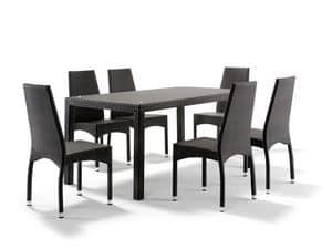 FT 2030 / 160, Tavolo in alluminio intrecciato, con piano in vetro