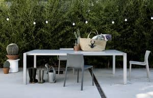 Sushi Outdoor, Tavolo allungabile minimalista, per giardini ed esterni