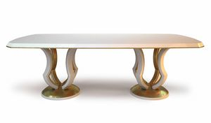 Lotus, Tavolo da pranzo laccato bianco