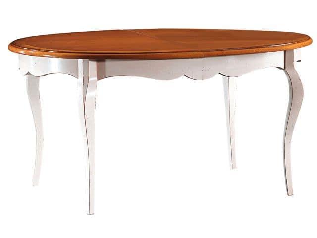 TA21, Tavolo ovale estendibile con gambe in faggio e piano in laminato