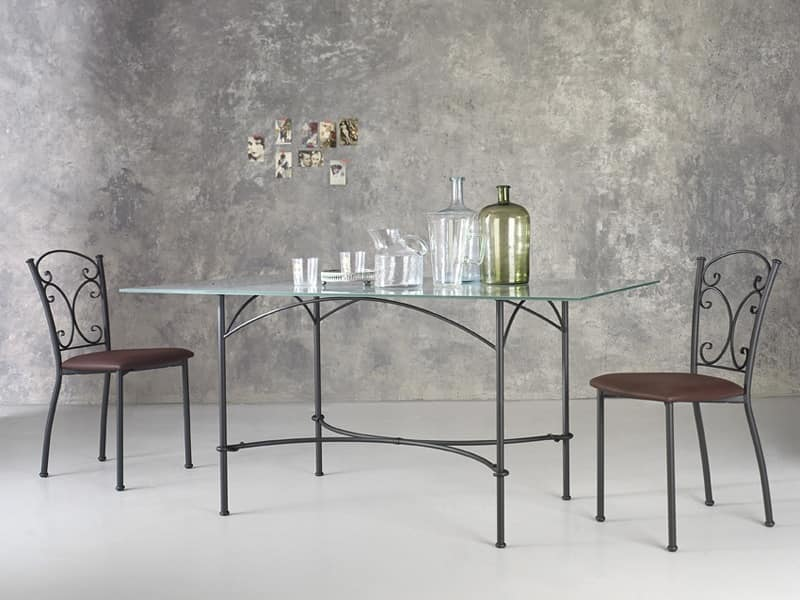 Corallo, Tavolo rettangolare in metallo, piano in vetro