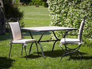 ROMBI GF4002TA-MAC, Tavolo per esterno in ferro e marmo