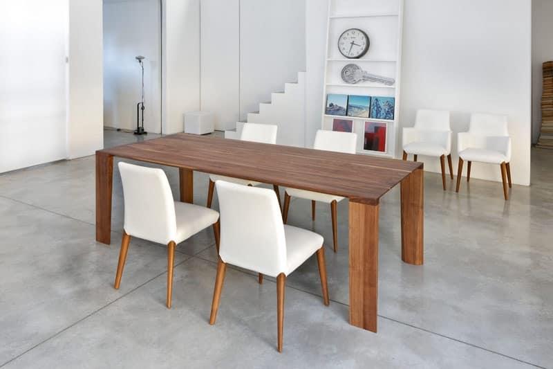 ART. 259/F OLIMPO, Tavolo pranzo contemporaneo, base in legno