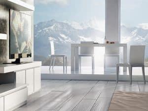 Complementi Tavolo 01, Tavolo allungabile in legno, per salotti moderni