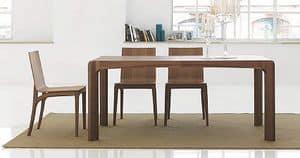 K�nesis, Tavolo da pranzo in legno, con bordi smussati