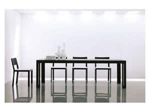 Miraggio, Tavolo da pranzo allungabile, allunghe sotto il piano