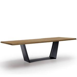 Antiqua-U, Tavolo con piano in legno massiccio, fisso o allungabile