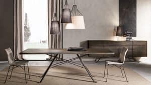 Art� tavolo, Tavolo con piano in rovere massiccio, base in ferro