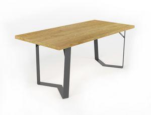 Doppiaelle, Tavolo con base in ferro lavorato a mano