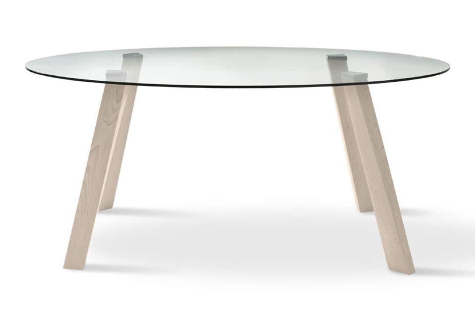 Tavolo Ovale Con Piano In Vetro Gambe In Faggio Idfdesign