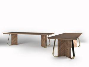 Intrigue tavolo, Tavolo in legno impiallacciato con finiture in metallo